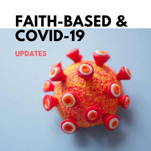 "A COVID particle with the text ""Faith-Based and COVID-19"" overlaid"