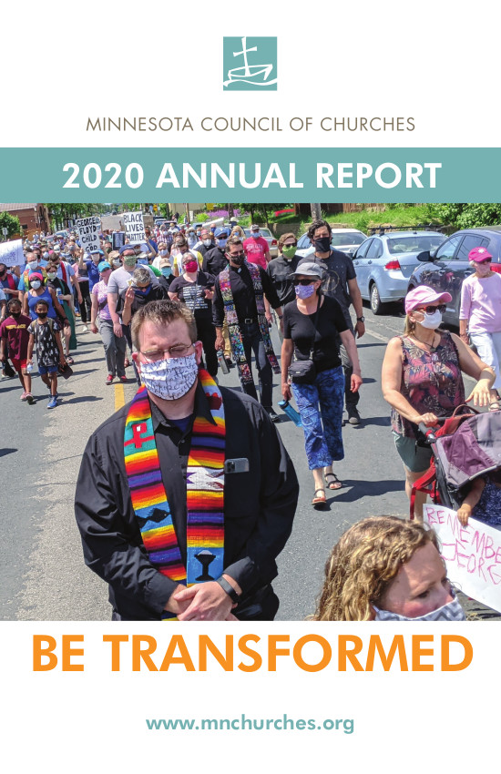 Cover page of MCC 2020 Annual Report features an image of clergy in vestments from the Clergy Silent March