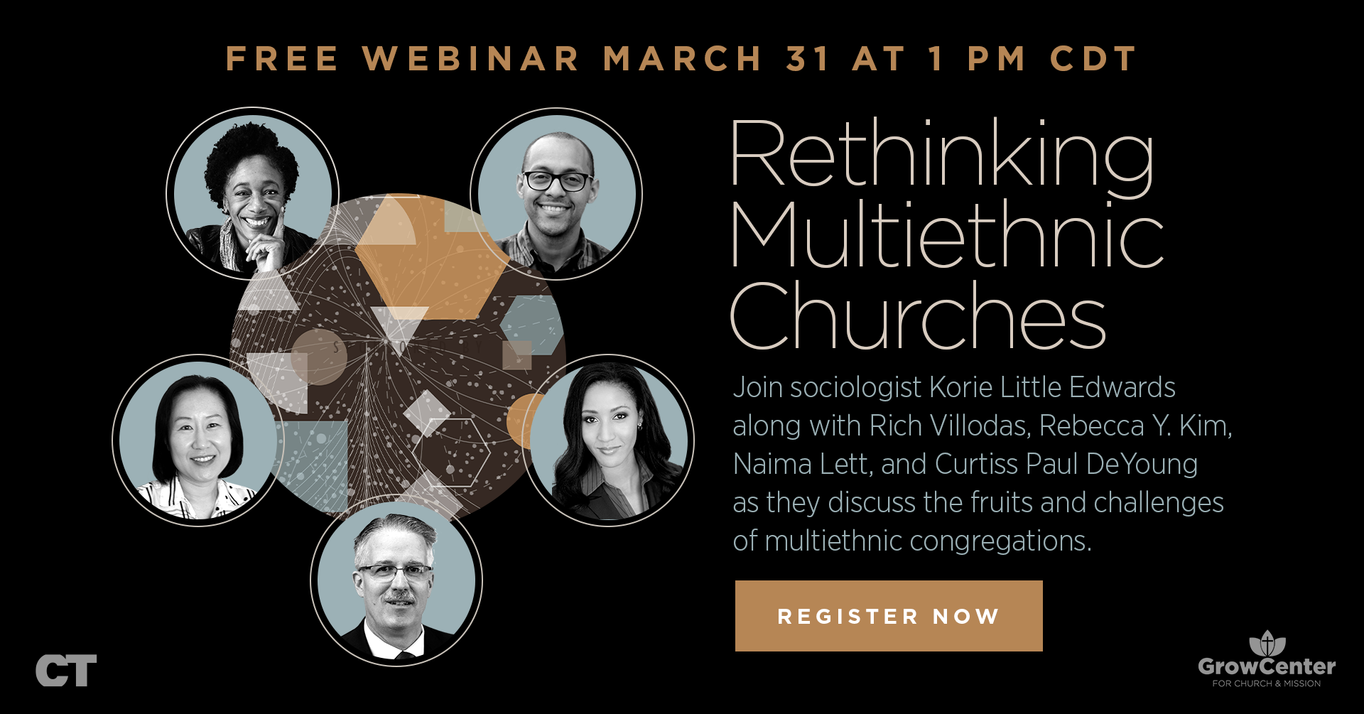 "Banner reads ""Rethinking Multiethnic Churches Free Webinar March 31 1pm CDT"" with headshots of five speakers including MCC CEO Rev. Dr. Curtiss Paul Deyoung"